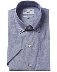 Ledbury Covington Linen-blend Tailored Fit Woven Shirt - Blue