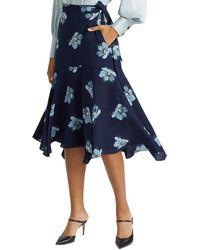 Club Monaco Silk Wrap Midi Skirt - Blue