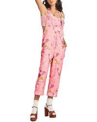 LoveShackFancy Printed Cotton Prair Daffy Jumpsuit - Pink