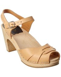 Swedish Hasbeens Peep Toe Super High Leather Sandal - Brown