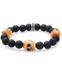 King Baby Studio - Black Onyx & Silver Skull Bracelet - Lyst