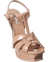 Saint Laurent Tribute 75 Patent Sandal - Brown