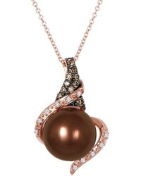 Le Vian ? Grand Sample Sale 14k Strawberry Gold? 0.14 Ct. Tw. Diamond 10-11mm Pearl Pendant - Multicolour