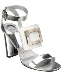 Roger Vivier Colorblock Metallic Leather Ankle-strap Sandal