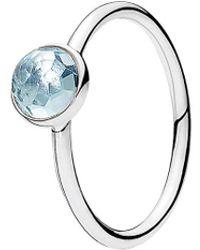 PANDORA - Silver & Crystal March Ring - Lyst