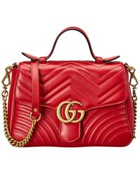 Gucci GG Marmont Small Matelasse Leather Top Handle Satchel - Black