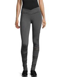 Electric Yoga Slim Waist With Mesh Legging - Gray