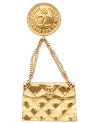 Chanel Gold-tone Flap Bag Pin - Metallic