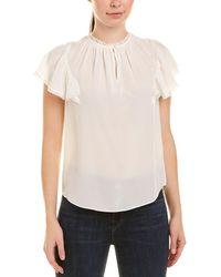 Rebecca Taylor Silk & Lace Top - White