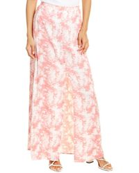 Bobeau Button-front Maxi Skirt - Pink