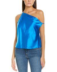 Michelle Mason Crystal Off-shoulder Silk Top - Blue