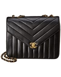 Chanel Black Chevron Quilted Lambskin Leather Small Envelope Single Flap Bag