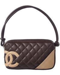 Chanel - Brown Quilted Lambskin Cambon Pochette - Lyst