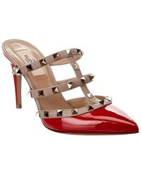 Valentino Rockstud Leather Mule - Red