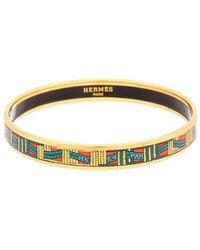 Hermès Palladium Narrow Enamel Bangle Bracelet - Metallic