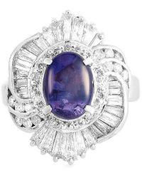 Heritage Platinum 5.80 Ct. Tw. Diamond & Sapphire Ring - Metallic