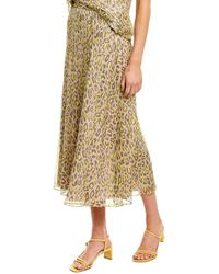Theory Leopard Silk Midi Skirt - Brown