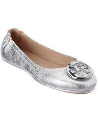 Tory Burch Minnie Travel Leather Ballet Flat - Metallic