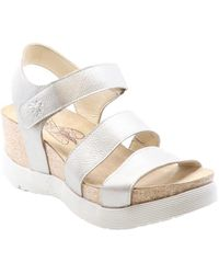 Fly London Weko Leather Wedge Sandal - Metallic
