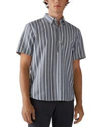 Club Monaco Stripe Popover Shirt - Blue