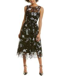 Teri Jon Embroidered A-line Dress - Black
