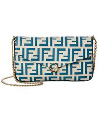 Fendi Ff Leather Wallet On Chain - Blue