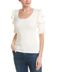 BCBGMAXAZRIA Ruffle Trim Sweater - White