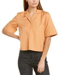 Club Monaco Cropped Collar Shirt - Brown