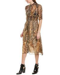 Ba&sh Rozy Snakeskin-print Chiffon Midi Dress - Brown