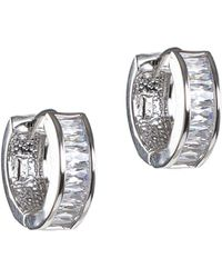 CZ by Kenneth Jay Lane - Rhodium Plated Hoop Earrings - Lyst
