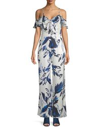 Julia Jordan Cold-shoulder Printed Jumpsuit - Blue