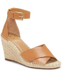 Vince Camuto Layann Leather Wedge Sandal - Brown