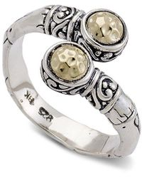 Samuel B. 18k Over Silver Bamboo Ring - Metallic