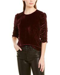 Rebecca Taylor Ruched Velvet Silk-blend Top - Red