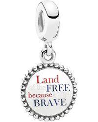 PANDORA Jewellery Silver & Enamel Land Of The Free Because Of The Brave Dangle Charm - Metallic