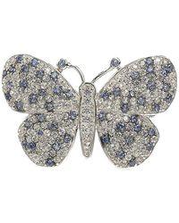 Suzy Levian Silver Gemstone Brooch - Metallic