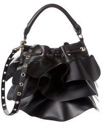 RED Valentino Ruffle Leather Bucket Bag - Black