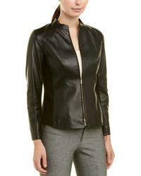 Lafayette 148 New York Petite Embla Leather Jacket - Black