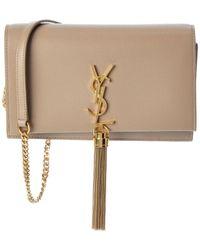Saint Laurent Kate Tassel Leather Wallet On Chain - Natural