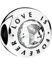 PANDORA Silver Cz Love Is Forever Charm - Metallic
