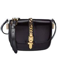 Gucci Sylvie 1969 Mini Leather Shoulder Bag - Black