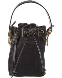 Fendi Mon Tresor Mini Canvas & Leather Bucket Bag - Black