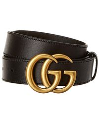 Gucci Interlocking G Buckle Leather Belt - Black