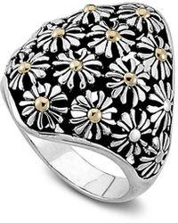 Samuel B. 18k Over Silver Flower Ring - Metallic