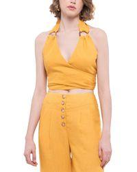 Moon River Halter Linen-blend Crop Top - Yellow