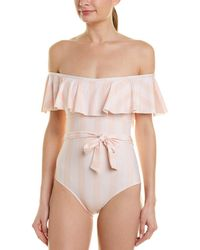 Splendid Quartz Pink Stripe Off Shoulder One Piece
