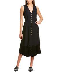 Derek Lam Crepe Silk-lined Midi Dress - Black