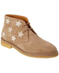 Saint Laurent Desert Star Embroidered Suede Ankle Boot - Natural