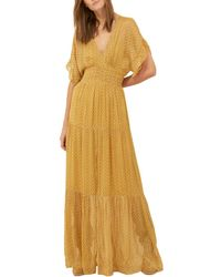 Ba&sh 3/4-length Sleeve Maxi Dress - Yellow
