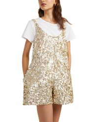 French Connection Sleeveless Scoop Neck Dia Sequin Overall - Metallic